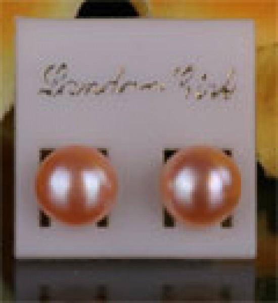Zucht-Perlen Ohrstecker 10-11mm Rose Lachs NEU