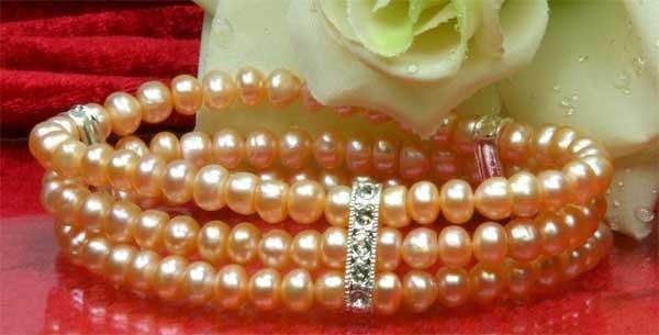 3-reihiges Zuchtperlen Armband Lachsfraben (Orange) mit Strass-Steinen NEU