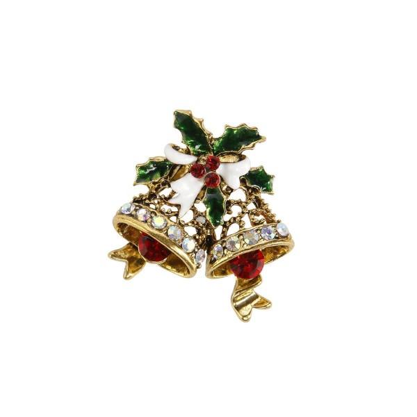 Brosche - Glocken mit Ilex weiß Fitz & Floyd Christmas Collection Goebel 51001141
