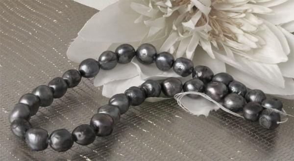 P601 Riesiger Barocke Süsswasser-Zucht-Perlen Strang Thaiti Silber ca. 13mm