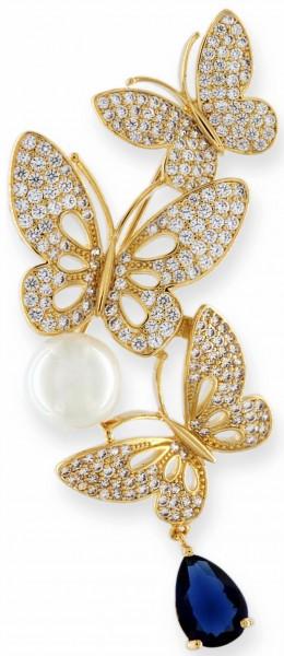 Brosche 3 Schmetterlinge goldfarben mit einer Perle, einem blauen und vielen weissen Strass Steinen