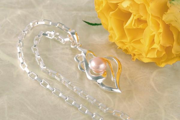 Elegante Silberkette Ornament mit echter Süßwasserzuchtperle Lachsfarben Rosa