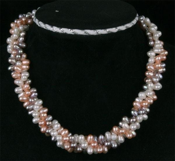 Süßwasser Zucht-Perlenkette + Armband schwere Top Qualität - 3-Farbig -