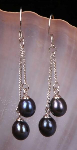 Doppelte Süßwasser Zucht-Perlen-Ohringe Schwarz 925 Silber