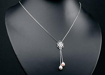 Elegante Silberkette mit Ornament +echten Süßwasserzuchtperlen Perlen oval ca. 8-9mm - Weiß / Lachs