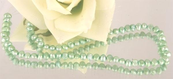 Perlenstrang S106 Süsswasser Perlen-Strang offen Perlen irregular ca 4-7mm Light Mint