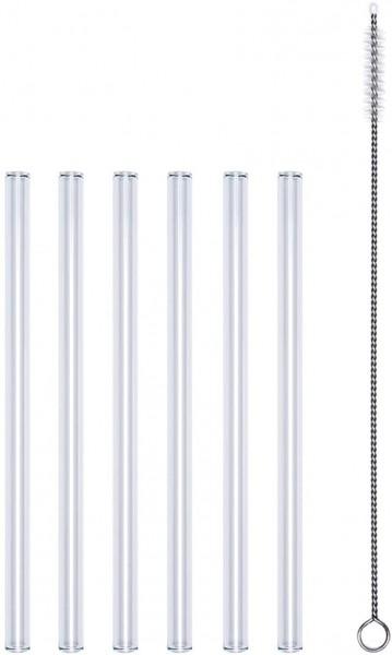 PROFINO Glastrinkhalme 6 Stk. 15cm PR1501 7tlg., 6xTrinkhalme + 1xReinigungsbürste