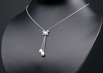 Silberkette Collier (925) Schmetterling+Perlen P349 weiß