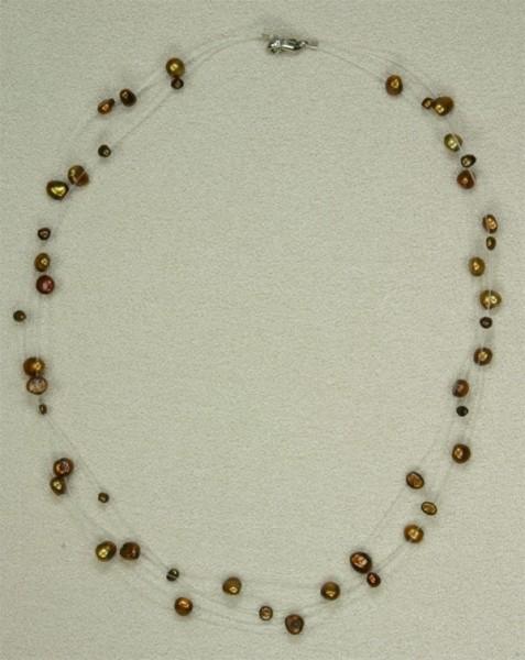 Süsswasser Perlenkette Filigran -Kupfer-Braun- ca. 45cm Perlen schwebend auf Nylon