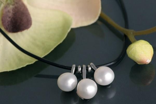 Echtes Zucht-Perlen-Collier P039 3-Perlen Weiss auf Kautschukband gezogen NEU