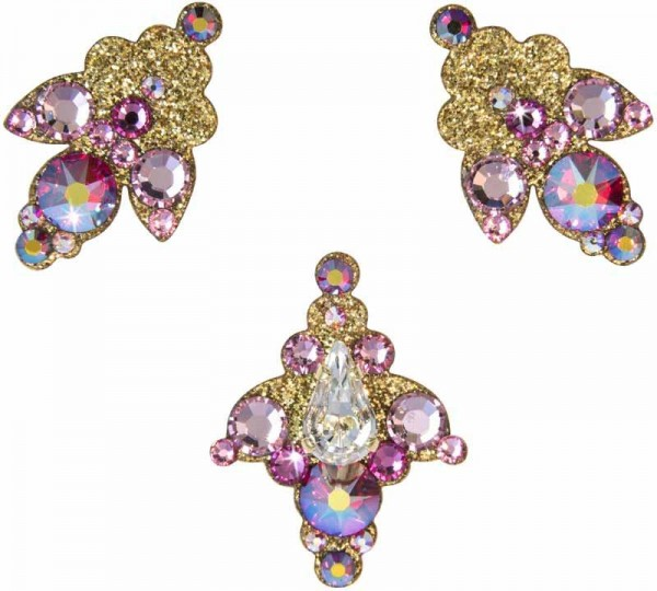 Venice 3 Gold-Rosa 1016037DE Körperschmuck Swarovski Crystal Pink