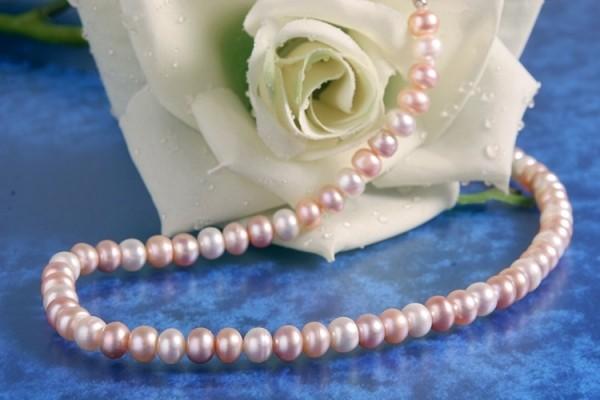 Perlenkette 3-farbig Rainbow ca.6-7mm Buttonshape Süsswasser-Perlen ca. 45cm K108