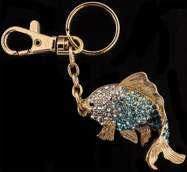 Schlüsselanhänger Fisch goldfarben mit vielen blauen und weissen Strass Steinen Taschenanhänger AH01