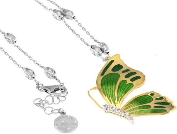 Halskette mit Schmetterling Anhänger 4.5cm grün in 925 Sterling Silber Vergoldet mit Zirkonia ZCL925