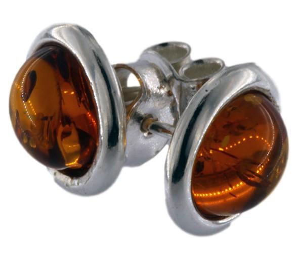 Bernstein Ohrstecker Cognacfarben ca. 8mm mit 925 Silber Brisur Paar BSOR03