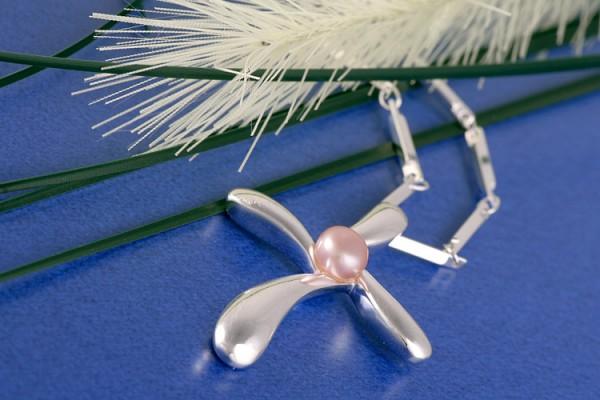 Elegante Silberkette Kreuz mit echter Süßwasserzuchtperle Lachsfarben Rosa