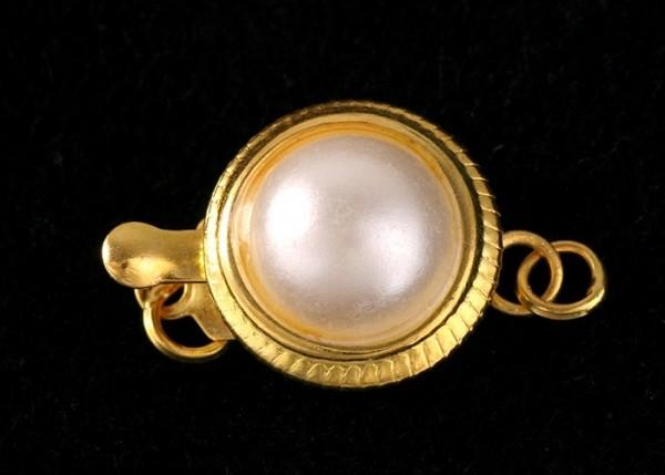 Schließe Perlenverschuß Gelbgold vergoldet Länge ca. 18mm V26