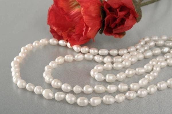 Süßwasser P288 Perlenkette Weiß Große 12mm Barocke Perlen ca. 160cm Endloskette