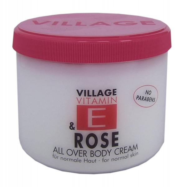Village 9506-11 Rose Body Cream 500ml mit Vitamin E Feuchtigkeitscreme