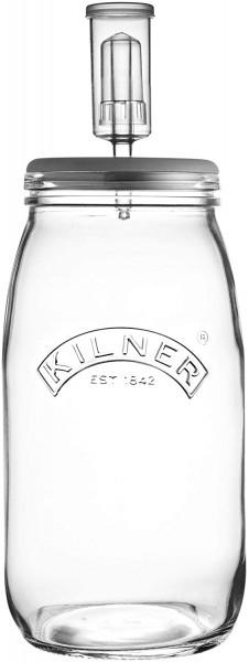 KILNER Create & Make Fermentierset - für das einfache Haltbarmachen von Gemüse, im 3 Liter Glas mit