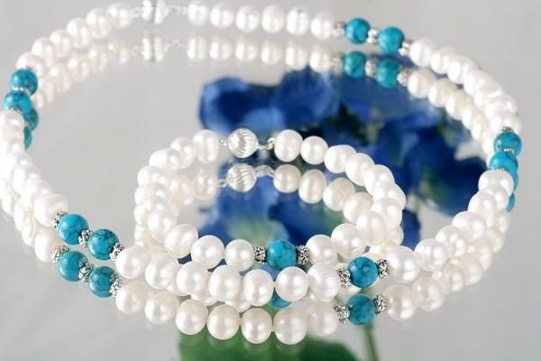 Perlen-Kette +Armband mit echten Türkisen Perlen ca. 7-8mm weiß mit türkis