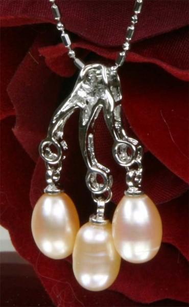 Echtes Exklusives Zucht-Collier 3-Perlen 18KGP Lachsfarben P502