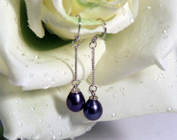 Süßwasserperlen-Ohrhänger (925Silber) Tahiti-Black-Violett