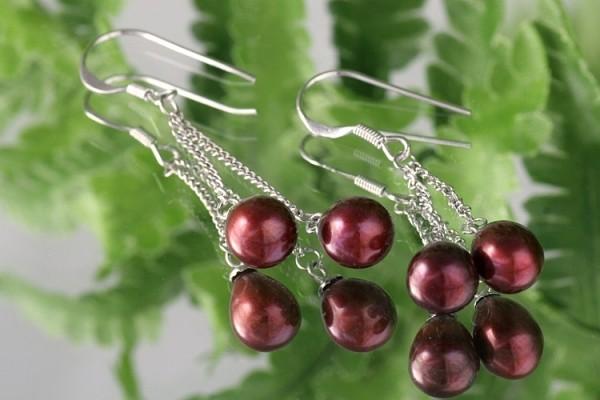 Doppelte Süßwasser Zucht-Perlen-Ohrringe (925Silber) Burgundy-Rot P422