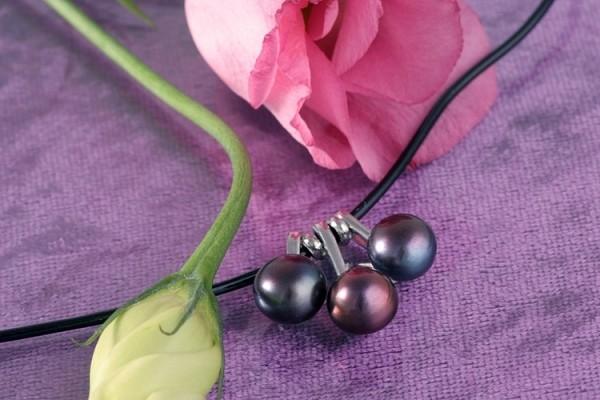 Echtes Zucht-Perlen-Collier P038 3-Perlen Tahiti-Farben auf Kautschukband gezogen NEU