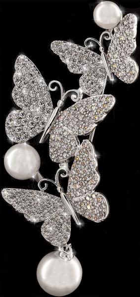 Brosche Drei Schmetterlinge silberfarben mit Drei Perlen und vielen weissen Strass Steinen BR020
