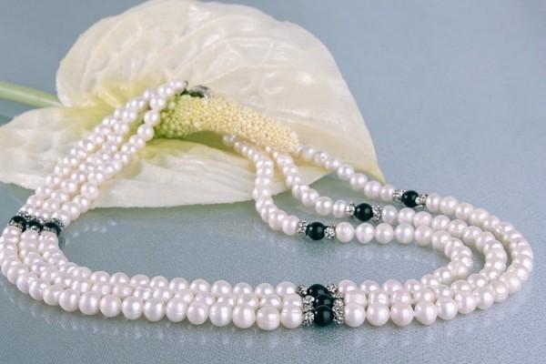 Zucht-Perlen-Collier P031 3-reihig weiß Onyx Perlencollier 44cm NEU