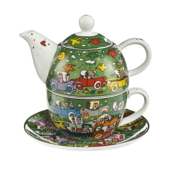 Goebel Tea for One James Rizzi Crosstown Traffic 26102351 Tasse Teekanne Untersetzer