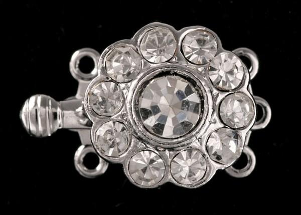 Schließe Clip-Verschluß Schließe Collier-Kette-Armband mit Strass Rhodiniert 3 Augen 19mm V19