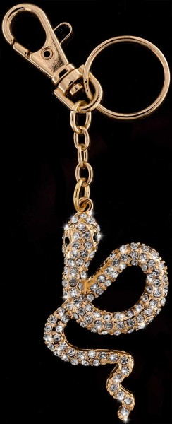 Schlüsselanhänger Schlange goldfarben weisser Strass Steinen Taschenanhänger AH03