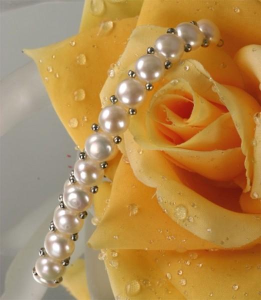 1-Reihig Echtes Zuchtperlen Perlen-Armband Süßwasserzuchtperlen m. silberfarbenen Kugeln Zuchtperlen