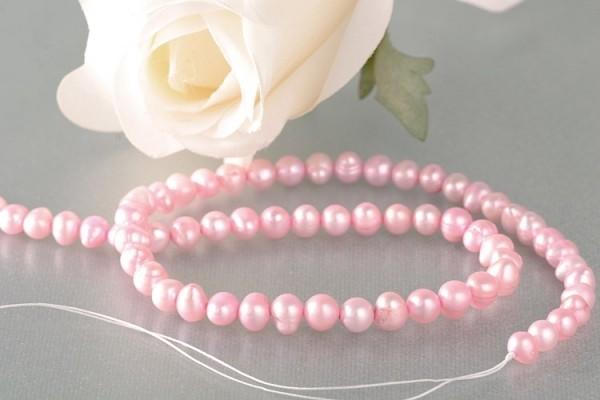 P407 Echter Süßwasser-Perlen-Strang oval 6-7mm 40cm lang offen rosa