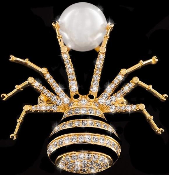 Brosche Spinne und Perle goldfarben und schwarzen und vielen weissen Strass Steinen BR014