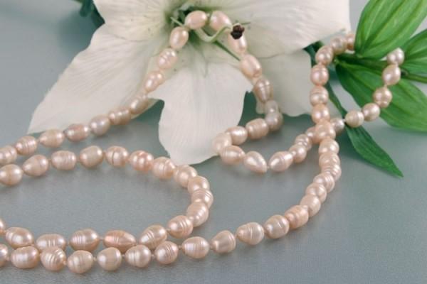 Echte Zucht-Perlenkette P025 Rosé Lachsfarben oval ca.120cm NEU