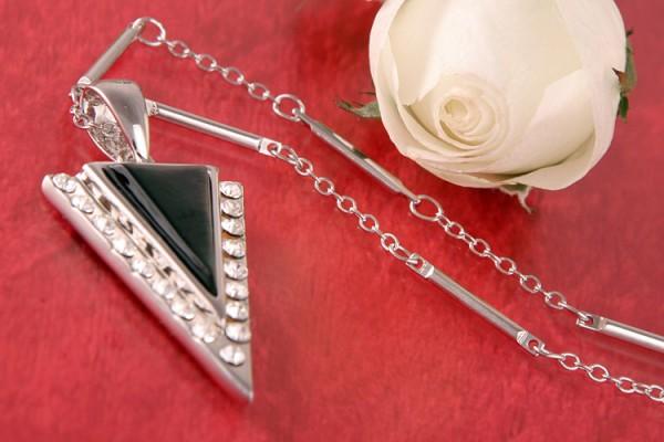 Perlenkette Anhänger Amulett MOP Dreick mit Strasssteinen Perlmutt Anthrazit versilbert rhodiniert P