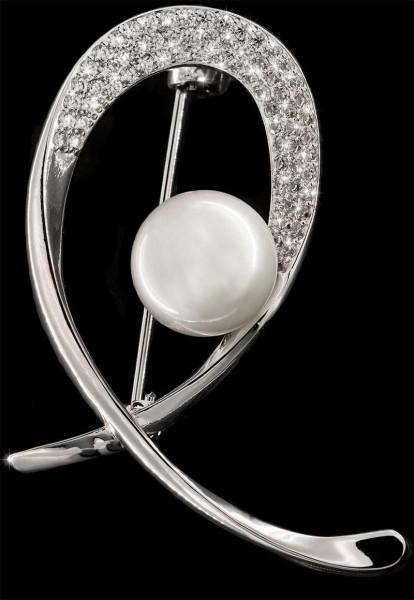 Brosche Schleife mit Perle silberfarben und mit vielen weissen Strass Steinen BR026