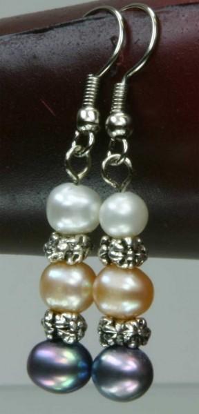 Süßwasser Zucht-Perlen-Ohrringe 3-farbige Ohrhänger Perlenohrringe O110