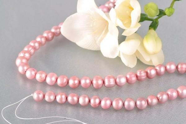 P395 Echter Süßwasser-Perlen-Strang barock 9-10mm 40cm lang offen Rosa