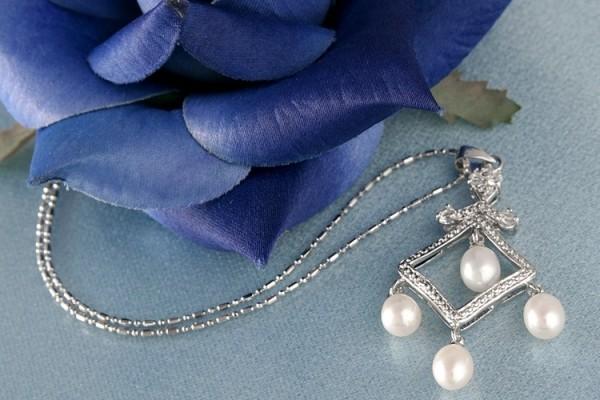 Perlencollier m. Staßsteinen P290 Weiß ca. 41cm Zucht Perlen 8mm Perlenkette