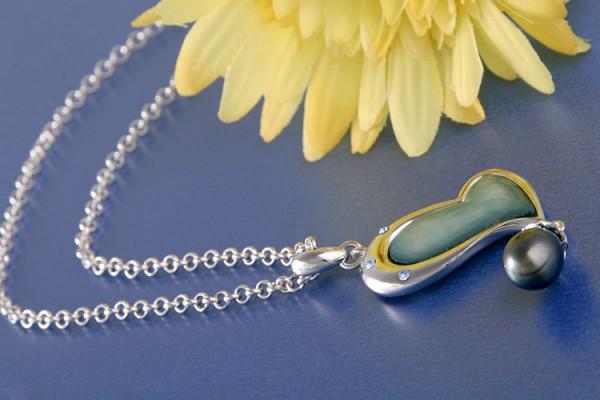 Perlenkette Anhänger Herz grünblau mit Süßwasserzuchtperle Tahit Scharz Violett versilbert rhodinier
