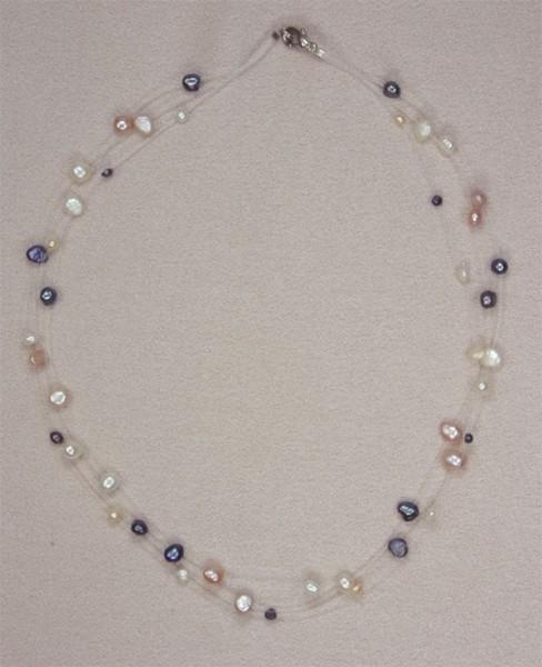 Süsswasser Perlenkette Filigran -Bunt- ca. 45cm Perlen schwebend auf Nylon