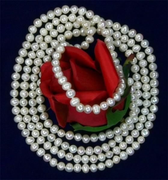 Echte Zucht-Perlenkette Weiss UVP 299€ ca. 160cm 7-8mm Perlen