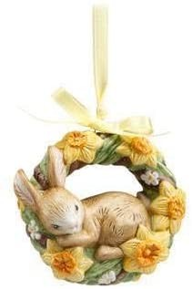 Hängeornament Jahresornament 2020 Goebel Ostern Blumenkranz mit Osterglocken, Porzellan, Mehrfarbig,