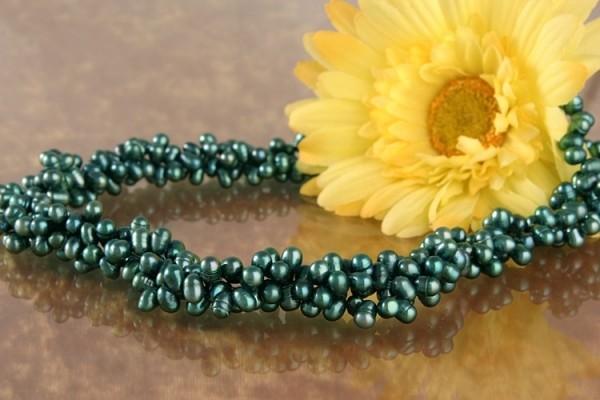 Perlenkette 3-Reihiges Perlen Collier Süsswasser Perlen Dunkelgrün Petrol C06