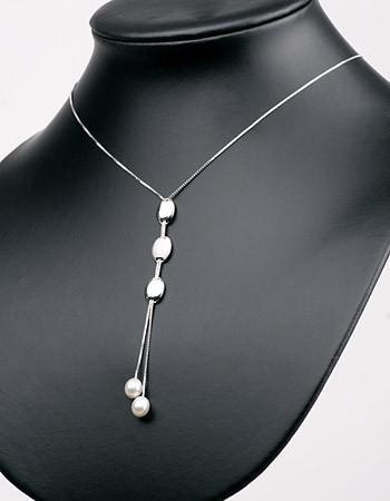Elegante Silberkette (925) Medallions+Perlen P333 weiß