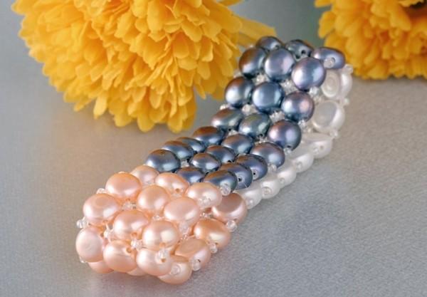 3-reihiges dehnbares Perlenarmband - 3-Farbig kräftige Farben - aus Süsswasserzuchtperlen A102
